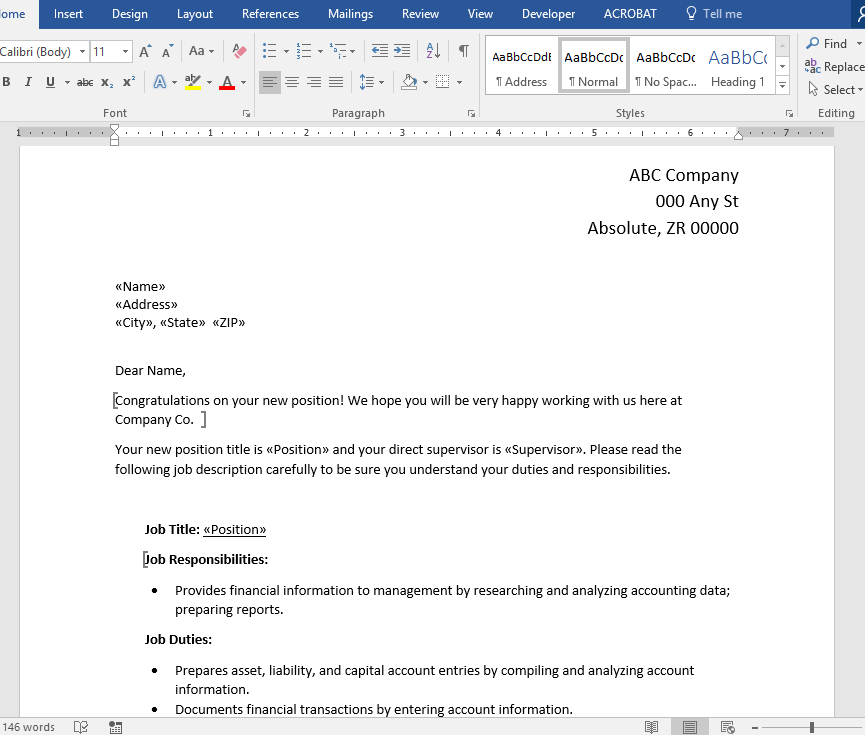 PDF Merge using Word Template