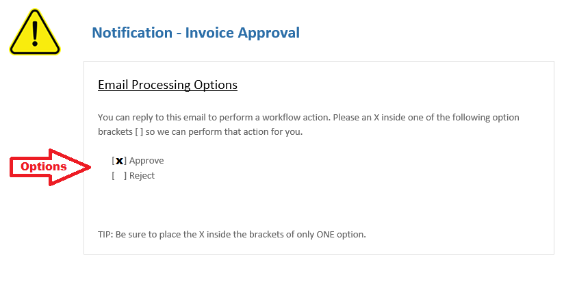 Email Example of Approval Options