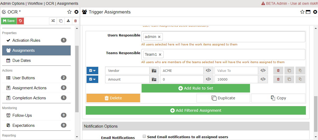 Workflow Filtered Assignments Admin Screen
