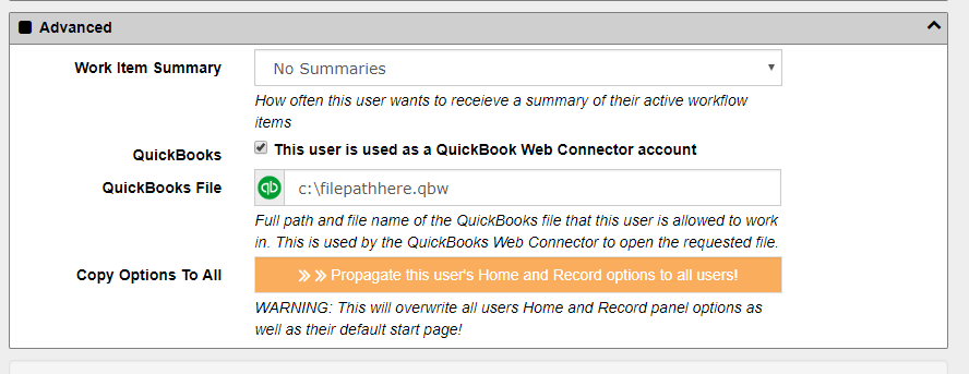 Configuring QuickBooks Integration | docMgt